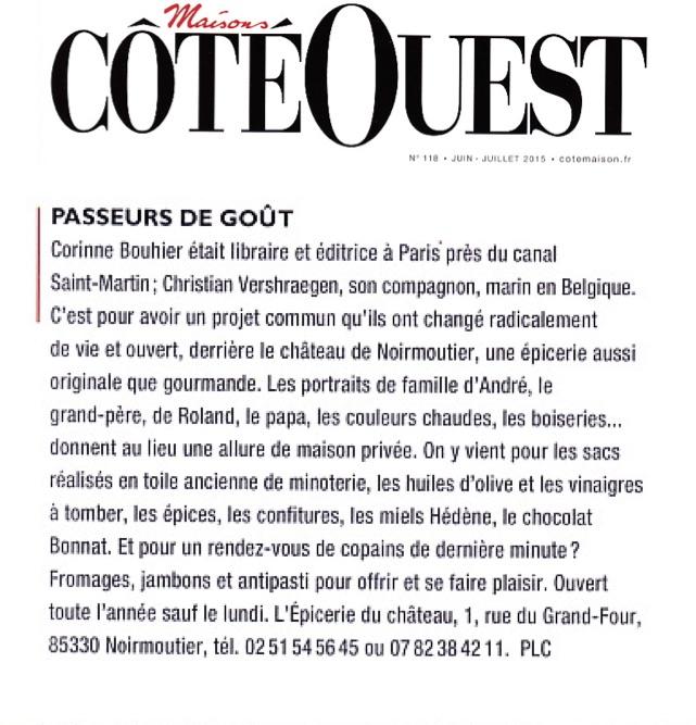 Article Côté Ouest 7-8:15